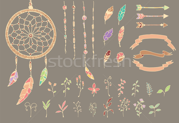 Hand drawn native american feathers, dream catcher, beads, arrows and flowers Stock photo © BlueLela