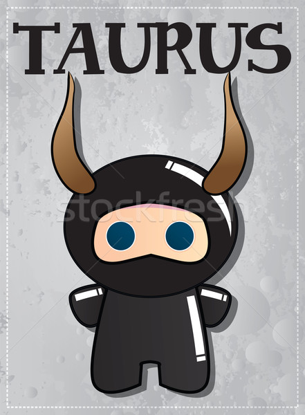 Zodiac sign Taurus with cute black ninja character, vector Stock photo © BlueLela