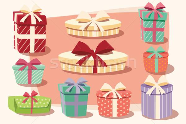 Gyűjtemény színes ajándékdobozok íjak szalagok különböző Stock fotó © BlueLela