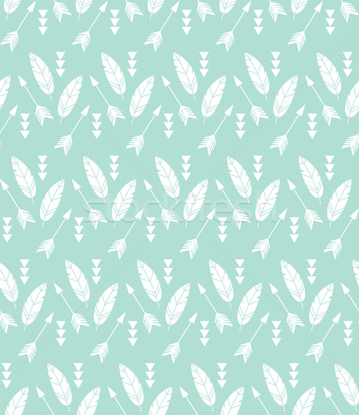 Stock photo: Bohemian feathers and arrows, seamless pattern