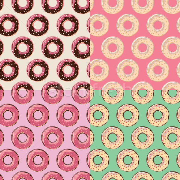 Four seamless patterns with colorful tasty glossy donuts Stock photo © BlueLela
