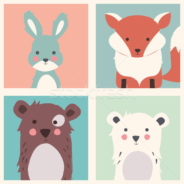 Collection of cute forest and polar animals with baby cubs, incl Stock photo © BlueLela