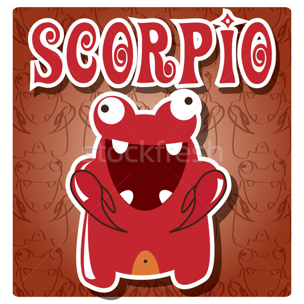 Stock photo: Zodiac sign Scorpio with cute colorful monster