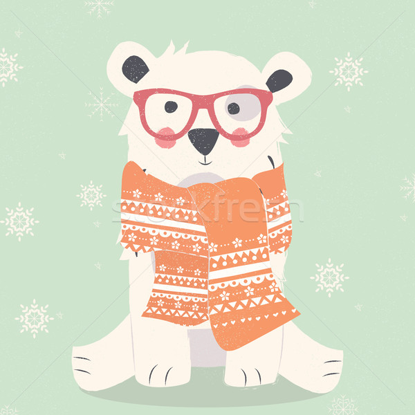 Merry Christmas postcard with hipster polar white bear wearing s Stock photo © BlueLela