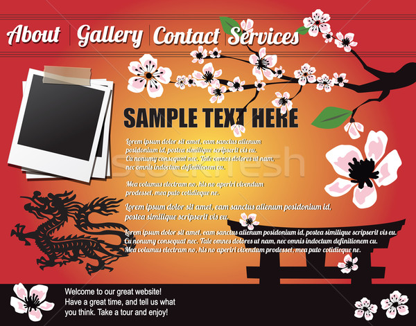 Website template design elements, Japanese motives Stock photo © BlueLela