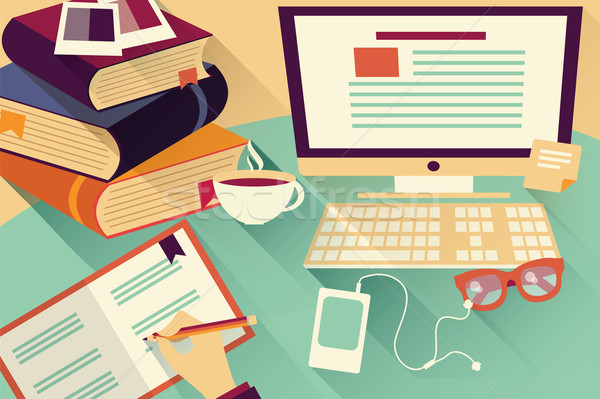 Flat design objects, work desk, office desk, books, computer and Stock photo © BlueLela