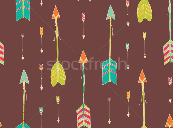 Bohemian hand drawn arrows, seamless pattern Stock photo © BlueLela
