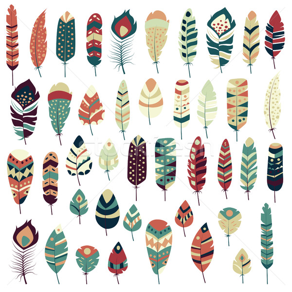 Collection of boho vintage tribal ethnic hand drawn colorful fea Stock photo © BlueLela
