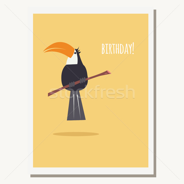 Greeting card with cute toucan parrot and text message Stock photo © BlueLela