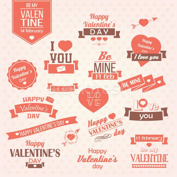 ストックフォト: コレクション · バレンタインデー · ヴィンテージ · ラベル · デザイン