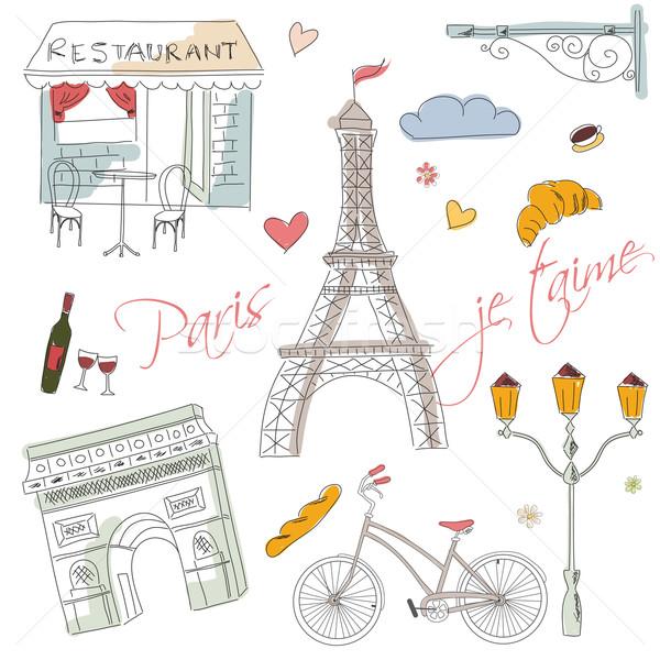 Párizs szimbólumok képeslap kézzel rajzolt utca terv Stock fotó © BlueLela