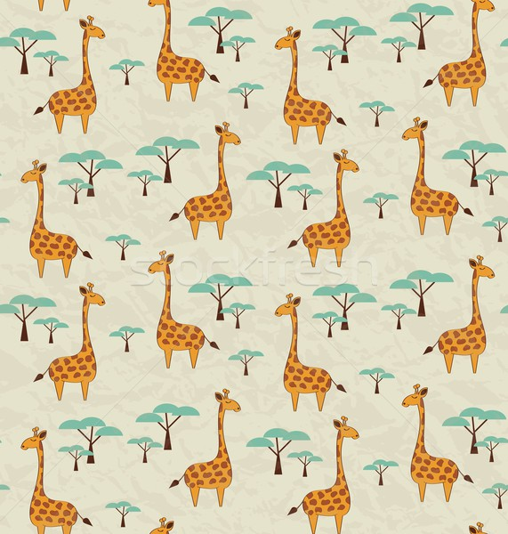 Seamless pattern with cute giraffes and trees, vector illustrati Stock photo © BlueLela