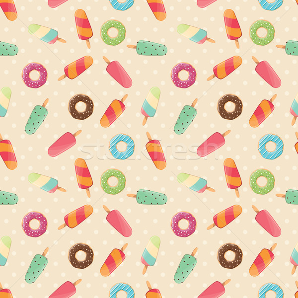 Seamless pattern with ice cream and colorful tasty donuts Stock photo © BlueLela