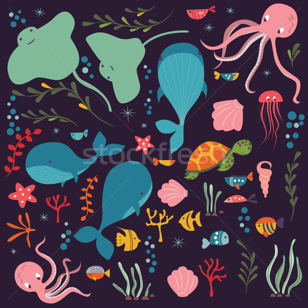 Collection of colorful sea and ocean animals, whale, octopus Stock photo © BlueLela