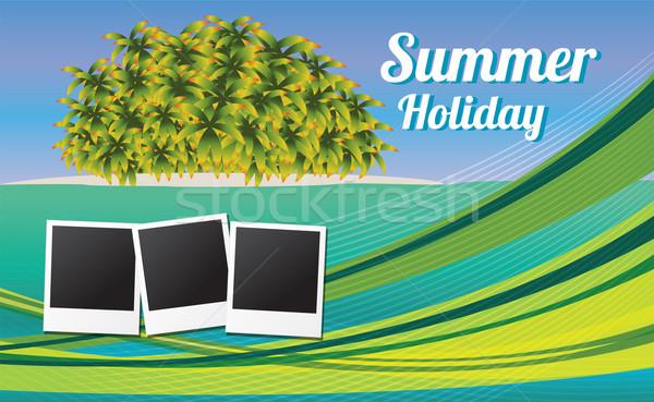 Férias de verão cartão fotos água árvore Foto stock © BlueLela