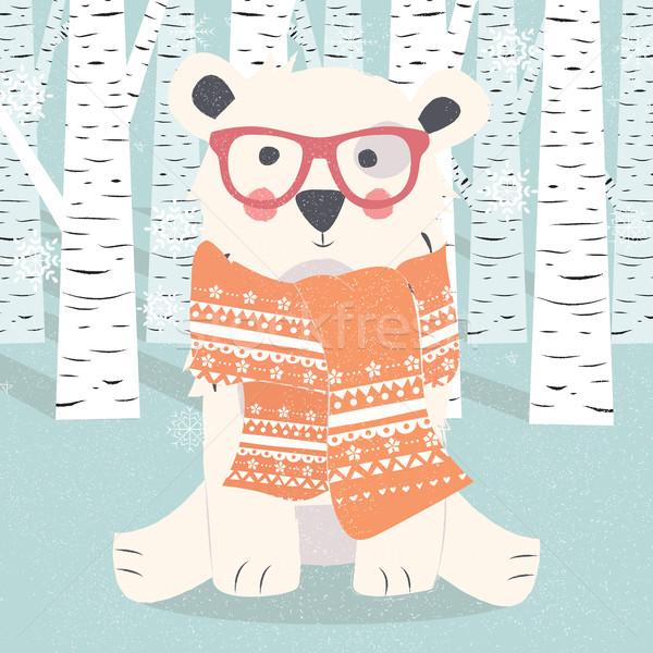 Vidám karácsony képeslap hipszter sarki fehér Stock fotó © BlueLela