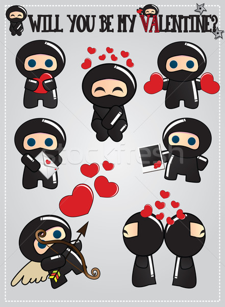 Collectie cute ninja Stockfoto © BlueLela