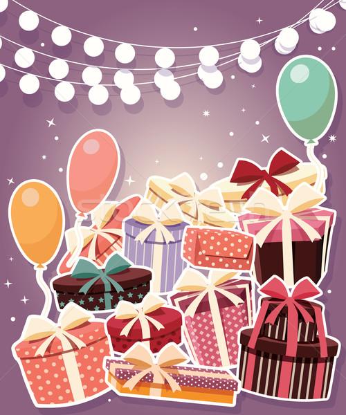 Doğum günü etiket hediyeler balonlar çocuklar mutlu Stok fotoğraf © BlueLela