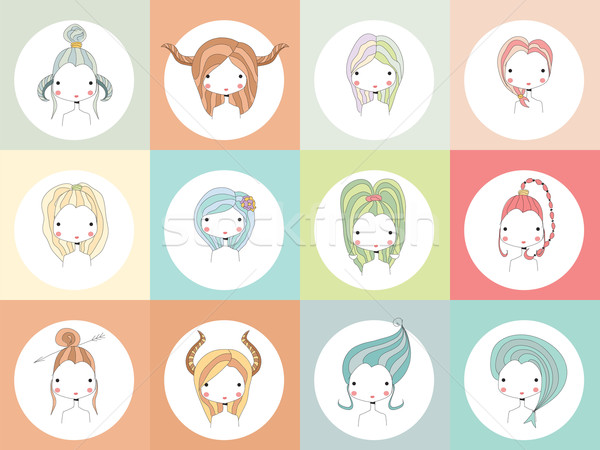 Horoskop znaki dziewcząt kobieta ognia włosy Zdjęcia stock © BlueLela