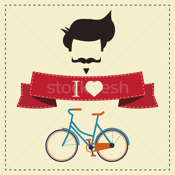I love hipster vintage hair style, mustache and bicycle, vector  Stock photo © BlueLela