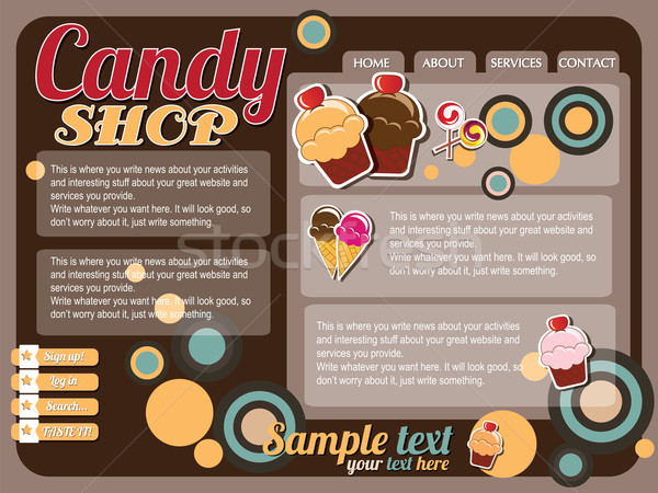 Website template elements, vintage style, candy shop Stock photo © BlueLela