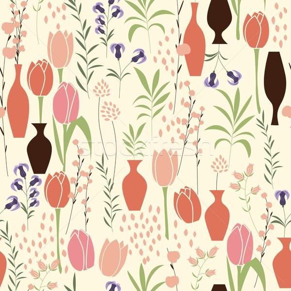 ベクトル フローラル 要素 春の花 チューリップ ストックフォト © BlueLela