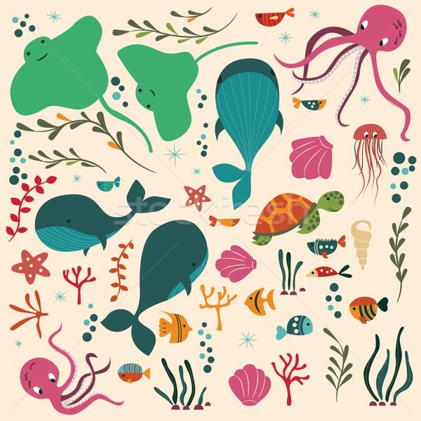 Stock fotó: Gyűjtemény · színes · tenger · óceán · állatok · bálna