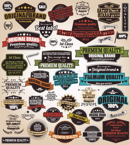 Stock fotó: Gyűjtemény · klasszikus · retro · címkék · jelvények · bélyegek