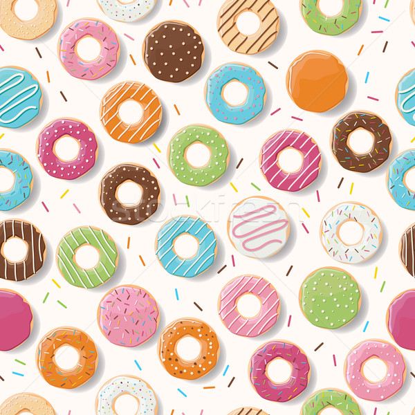 Stock photo: Seamless pattern with colorful tasty glossy donuts