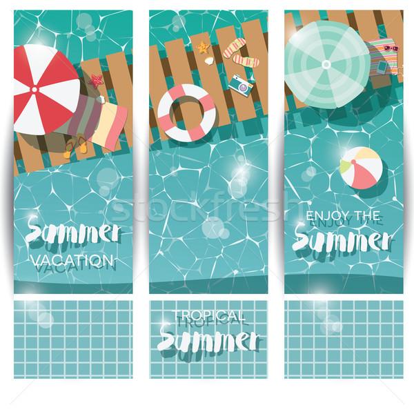 üç dikey afişler yüzme havuzu üst görmek Stok fotoğraf © BlueLela