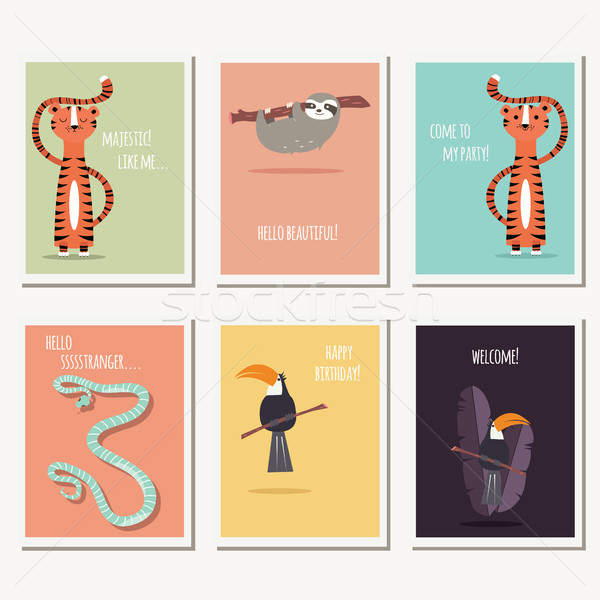 Six greeting cards with cute wild animals and text message Stock photo © BlueLela