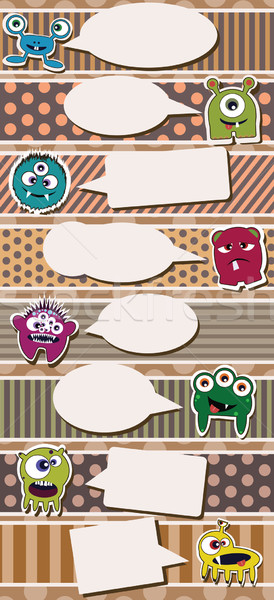 Set of cute little monsters on dotted background, vector Stock photo © BlueLela