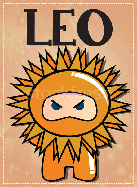 Zodiac sign Leo with cute black ninja character, vector Stock photo © BlueLela