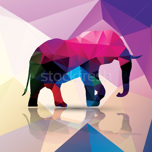 Geometric polygonal elephant, pattern design, vector illustratio Stock photo © BlueLela