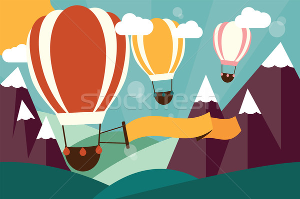 Caliente aire globos vuelo montanas banner Foto stock © BlueLela