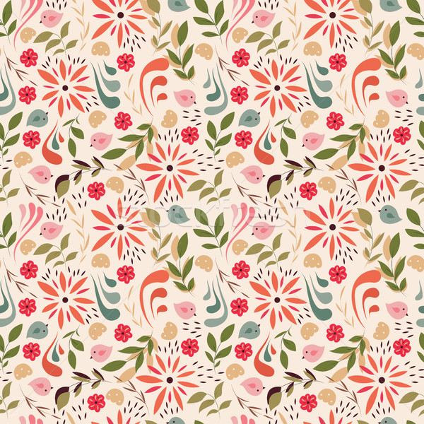 Stock photo: Seamless pattern design with little flowers, floral elements, bi