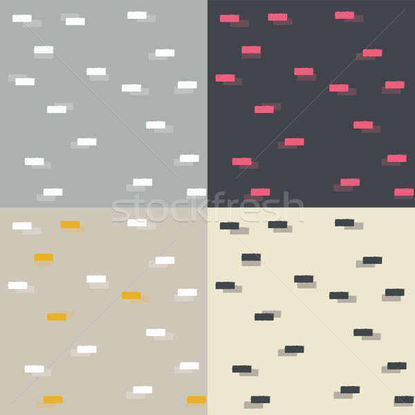 Collection of four seamless patterns with geometric blocks Stock photo © BlueLela