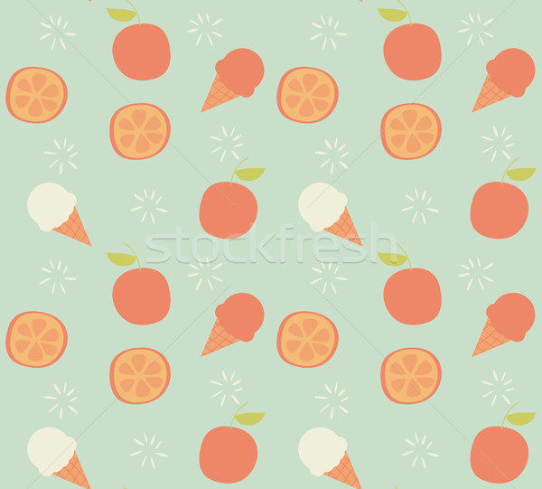 Seamless pattern with hand drawn orange fruit and ice cream Stock photo © BlueLela