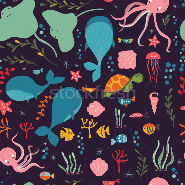Seamless pattern with underwater ocean animals, whale, octopus,  Stock photo © BlueLela