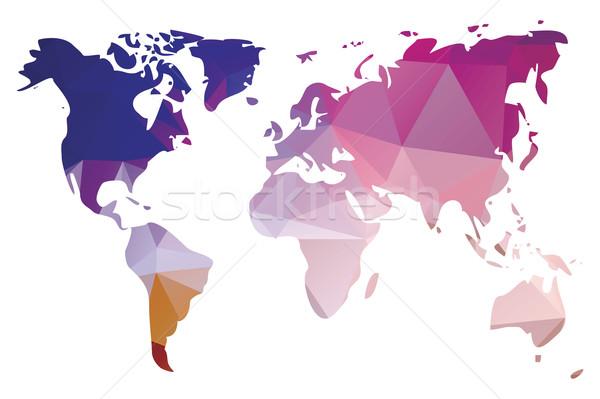 World map in geometric triangle pattern design, vector illustrat Stock photo © BlueLela