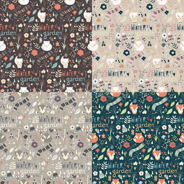 Stock photo: Collection of four seamless patterns with winter garden flowers,