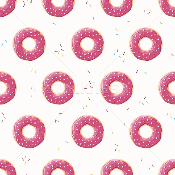 Seamless pattern with colorful tasty glossy donuts, vector illustration Stock photo © BlueLela
