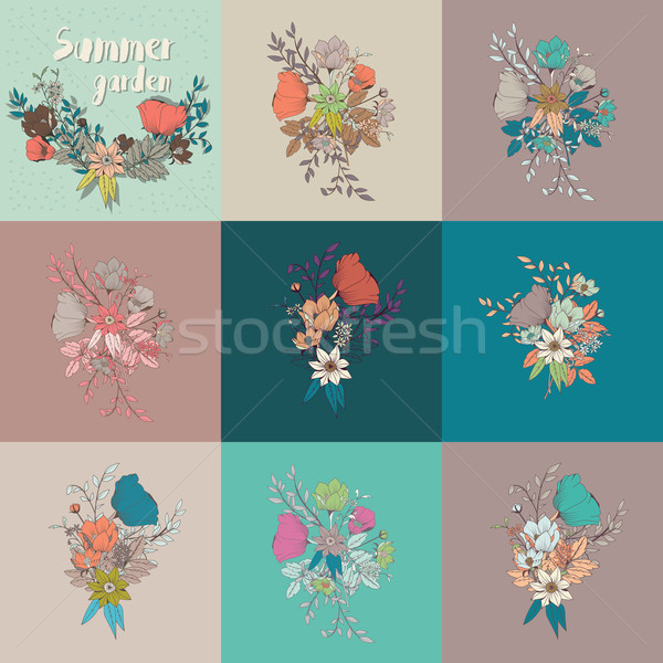 Vector flower bouquet, collection, botanical and floral decorati Stock photo © BlueLela