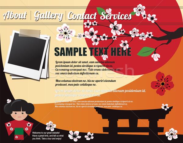 Weboldal sablon terv elemek japán absztrakt Stock fotó © BlueLela