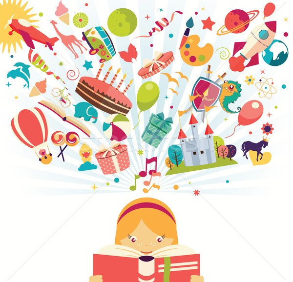 Imagination concept - girl reading a book with air balloon, rocket and airplane flying out, vector i Stock photo © BlueLela