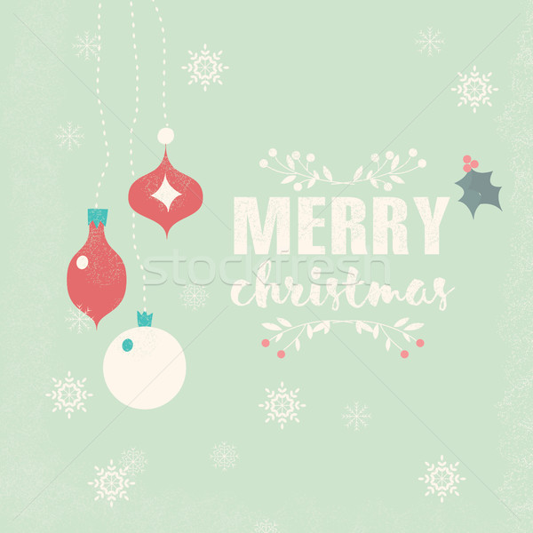 Merry Christmas postcard with balls decoration, snowflakes and f Stock photo © BlueLela