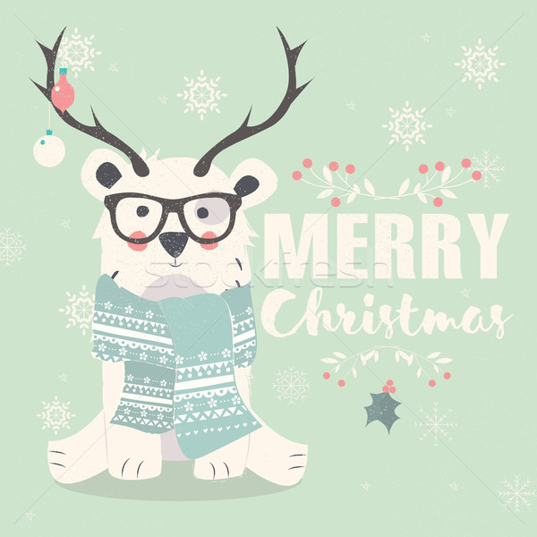 Merry Christmas postcard, hipster polar bear wearing glasses and Stock photo © BlueLela