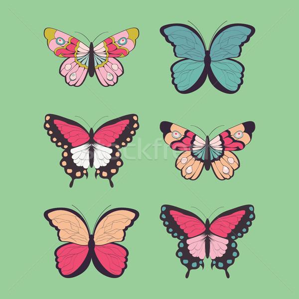 コレクション 6 手描き カラフル 蝶 蝶 ストックフォト © BlueLela