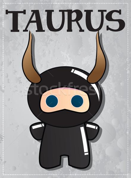 Zodiac sign Taurus with cute black ninja character Stock photo © BlueLela