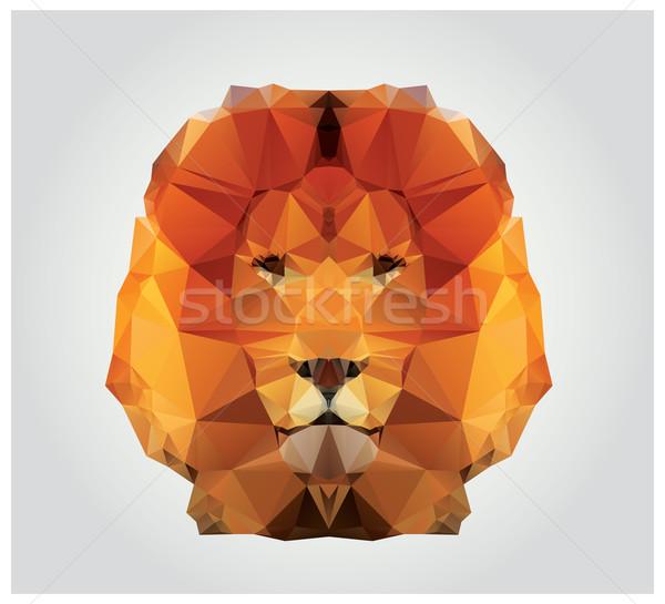 Geométrico polígono leão cabeça triângulo padrão Foto stock © BlueLela